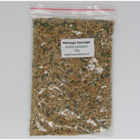 Graine sauvage en mélange de qualité biologique, conditionné en sachet zip de 75g.